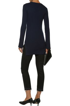 MAJE Bow-detailed ribbed cotton and wool-blend sweater