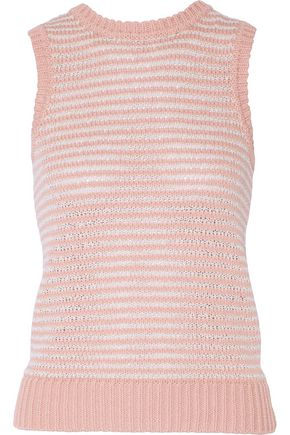 J BRAND Garey striped knitted cotton-blend tank