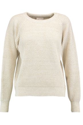 GANNI Uma metallic rib-knit sweater