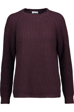 BRUNELLO CUCINELLI Sequin-embellished ribbed wool-blend sweater