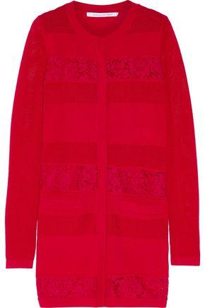 DIANE VON FURSTENBERG Lace-paneled merino wool cardigan