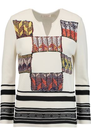 TORY BURCH Patchwork embroidered knitted sweater
