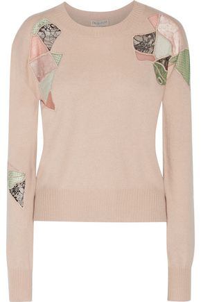 EMILIO PUCCI Embroidered mesh and lace-paneled wool, silk and cashmere-blend sweater