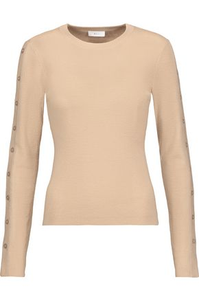 A.L.C. Knox buttoned ribbed-knit merino wool-blend sweater