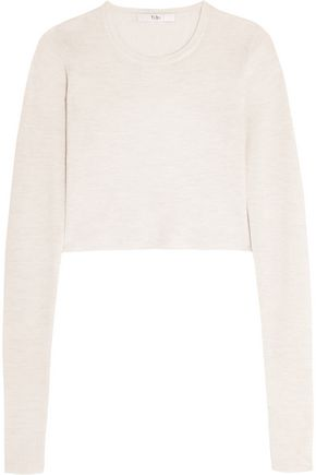 TIBI Cropped open-back ribbed merino wool sweater