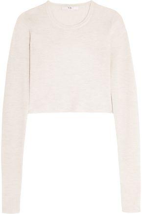 TIBI Cropped open-back ribbed merino wool sweater