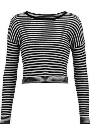 ALICE + OLIVIA Kai cropped striped wool-blend sweater