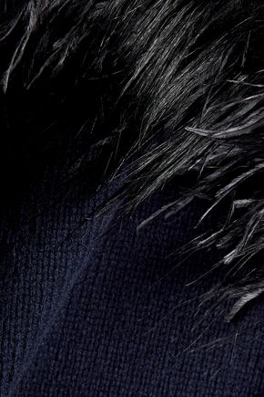 JIL SANDER Feather-embellished wool and cashmere-blend sweater