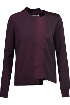 MAISON MARGIELA Asymmetric cashmere and flocked satin sweater