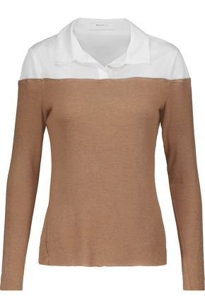 BAILEY 44 Two-tone cotton-blend paneled jersey sweater