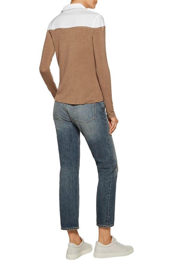 Two-tone cotton-blend paneled jersey sweater | BAILEY 44 | Sale up to 70%  off | THE OUTNET