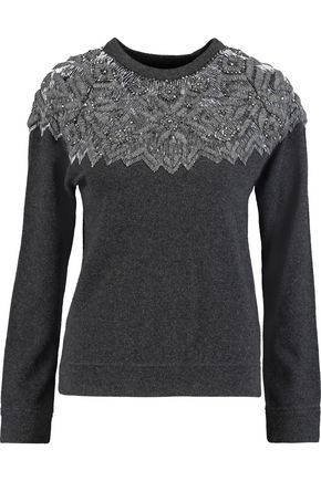 VALENTINO Embellished embroidered wool and cashmere-blend sweater