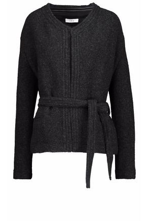 IRO Leather-trimmed wool-blend wrap jacket