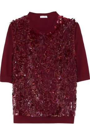 OSCAR DE LA RENTA Paillette-embellished wool and silk-blend sweater