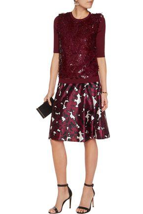 OSCAR DE LA RENTA Paillette-embellished wool and silk-blend sweater