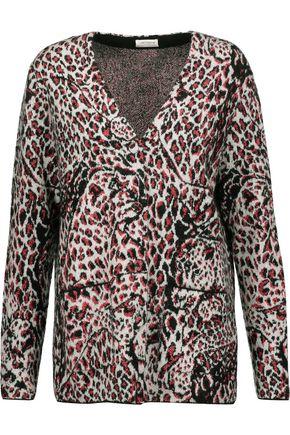 SAINT LAURENT Metallic leopard-print jacquard cardigan