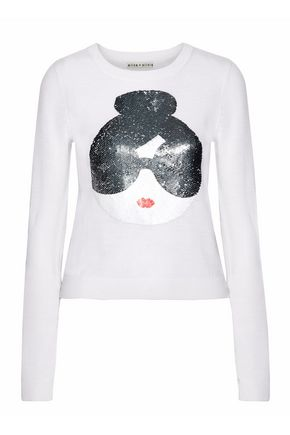 ALICE+OLIVIA Sequin-appliquéd wool-blend sweater