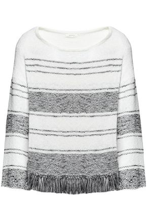 JOIE Fringed two-tone pointelle-knit sweater
