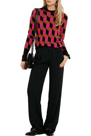 MICHAEL KORS COLLECTION Hexagon-intarsia cashmere sweater