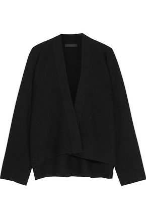 DONNA KARAN Cropped ribbed cashmere cardigan