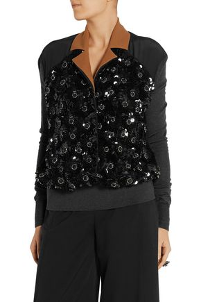 MARNI Embellished silk and wool-blend sweater