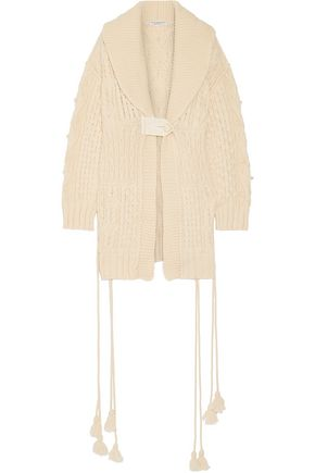 PHILOSOPHY di LORENZO SERAFINI Lace-up cable-knit wool-blend cardigan