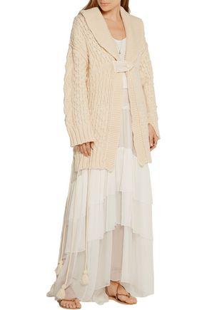 PHILOSOPHY di LORENZO SERAFINI Lace-up cable-knit wool-blend cardigan