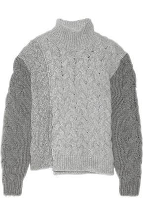 STELLA McCARTNEY Mélange cable-knit wool-blend turtleneck sweater