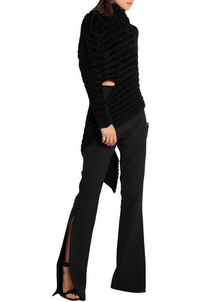 ESTEBAN CORTAZAR Asymmetric ribbed-knit chenille turtleneck sweater