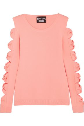 BOUTIQUE MOSCHINO Cutout bow-detailed stretch-knit sweater