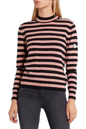 SHRIMPS Eric appliquéd striped wool sweater