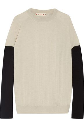 MARNI Bow-embellished color-block cashmere sweater