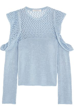 PHILOSOPHY di LORENZO SERAFINI Cutout open-knit cotton sweater