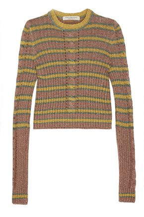 PHILOSOPHY di LORENZO SERAFINI Metallic striped cable-knit sweater