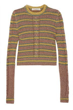 PHILOSOPHY di LORENZO SERAFINI Metallic striped ribbed-knit sweater