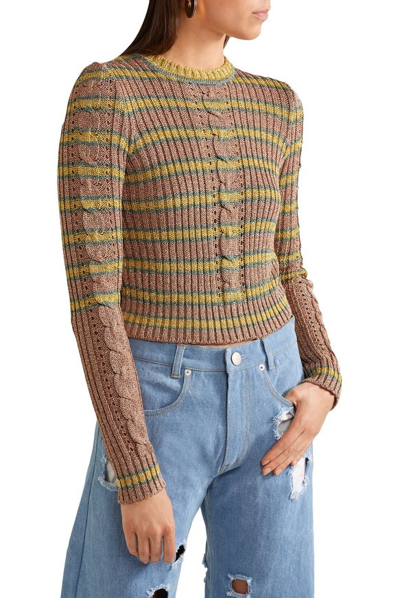 Metallic striped ribbed-knit sweater   PHILOSOPHY di LORENZO SERAFINI   Sale  up to 70% off   THE OUTNET