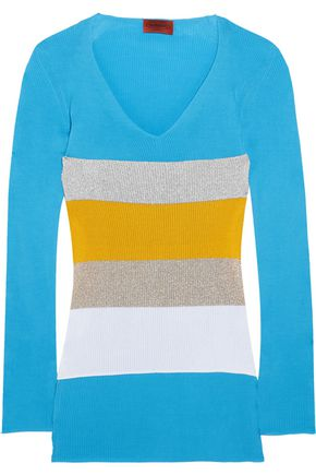 MISSONI Color-block ribbed cotton sweater