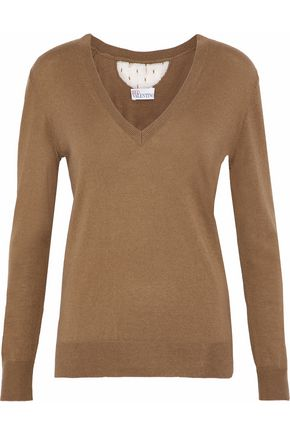 REDValentino Point d'espirit cashmere and silk-blend sweater