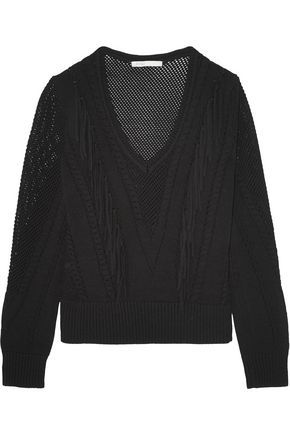 MAJE Fringe-trimmed pointelle-knit sweater