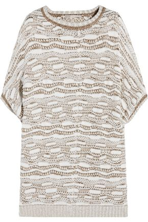 MAJE Metallic jacquard-knit sweater