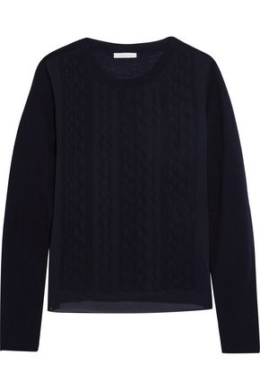 CHLOÉ Embroidered silk-chiffon and wool sweater