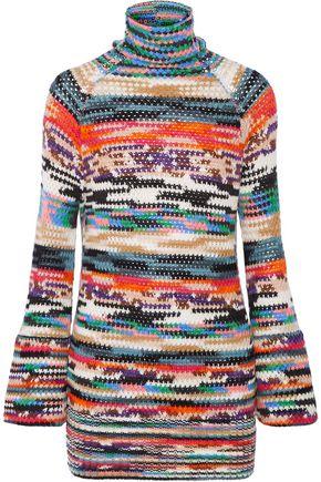 MISSONI Crochet-knit wool-blend turtleneck mini dress
