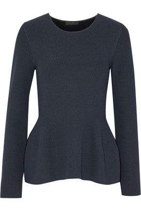 CALVIN KLEIN COLLECTION Open-knit peplum sweater