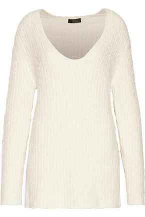 CALVIN KLEIN COLLECTION Corella bouclé-knit cashmere and silk-blend sweater