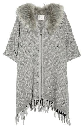 JOIE Purnima oversized faux fur-trimmed woven wool-blend cardigan