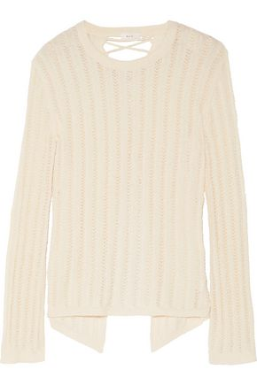 A.L.C. Miguel lace-up paneled open-knit cotton-blend sweater