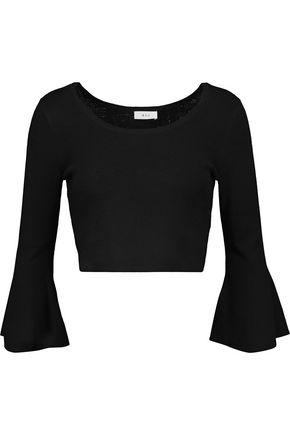 A.L.C. Mara cropped fluted merino wool-blend sweater
