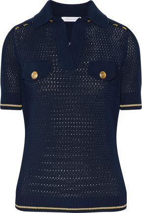 PIERRE BALMAIN Button-detailed open-knit cotton top