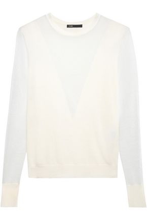 MAJE Paneled stretch wool-blend sweater