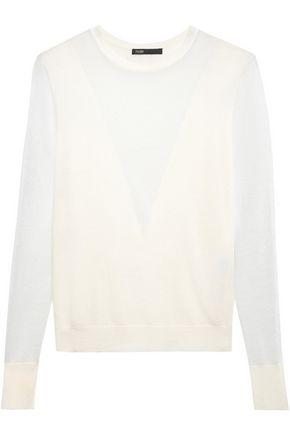 MAJE Paneled stretch wool-blend sweater